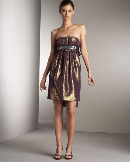 Vera Wang Lavender Label Strapless Metallic Dress