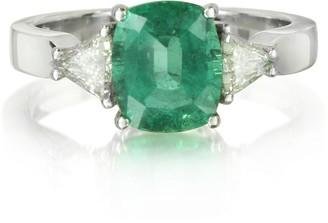 Forzieri Emerald and Diamond White Gold Ring