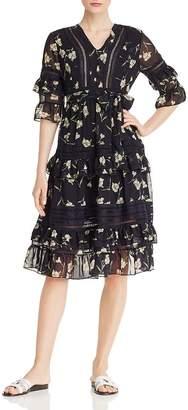 Aqua Lace-Inset Ruffled Floral Midi Dress - 100% Exclusive