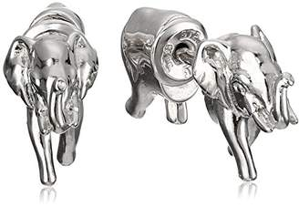 Sterling Silver Elephant Front-Back Stud Earrings