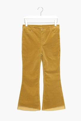 Genuine People Cropped Flare Stretch Corduroy Pants