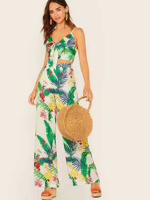 Shein Tropical Print Tie Front Cami Crop Top & Palazzo Pants Set