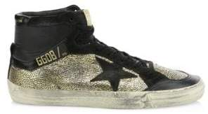 Golden Goose Metallic Star-Embroidered High-Top Sneakers
