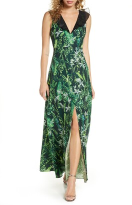Foxiedox Print Ruffle V-Neck Evening Gown