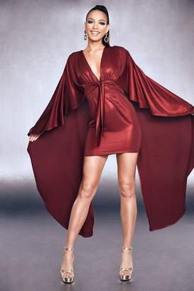 boohoo Premium Foiled Satin Belted Cape Dress