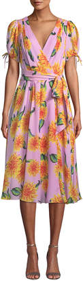 Carolina Herrera V-Neck Short-Sleeve Floral-Print Silk Wrap Dress