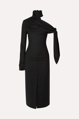 MATÉRIEL Draped One-shoulder Wool Midi Dress - Black