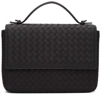 Bottega Veneta Black Intrecciato Messenger Bag