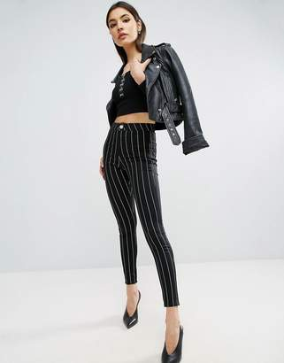 Asos RIVINGTON High Waisted Denim Jegging in Clean Black Stripe with Welt