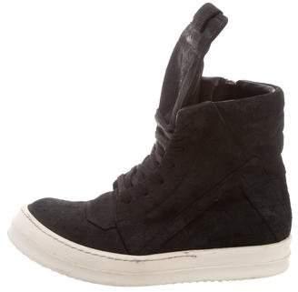 Rick Owens High-Top Suede Sneakers