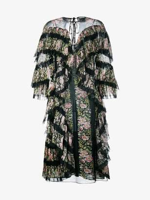 Gucci floral print silk ruffle dress