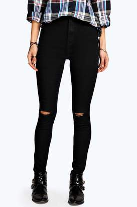 boohoo Lara Ripped Knee Skinny Tube Jeans $50 thestylecure.com