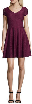 My Michelle Short Sleeve Drop Waist Dress-Juniors