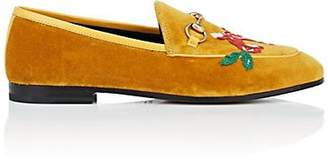 Gucci Women's Bit-Detail Embroidered Velvet Loafers - Yellow