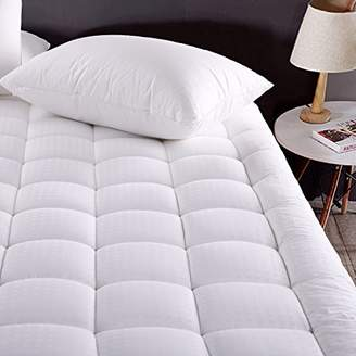MEROUS Queen Size Cotton Mattress Pad Down Alternative Mattress Cover - Hypoallergenic Fitted Quilted Mattress Topper - Stretches up to 18 Inches Deep
