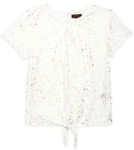 7 For All Mankind Little Girl's & Girl's Tie-Front Graffiti Tee
