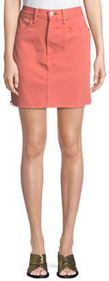 Rag & Bone Moss Denim Mini Skirt with Raw-Edge Hem