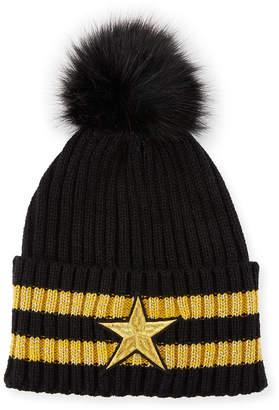 Neiman Marcus Star & Stripe Pompom Beanie