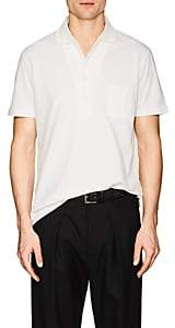 Luciano Barbera Men's Cotton-Linen Piqué Polo Shirt - White