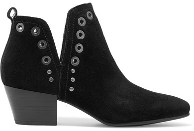 Sam Edelman - Rubin Embellished Suede Ankle Boots - Black