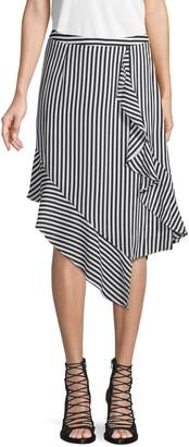 Nicole Miller Stripe-Print Draped Skirt