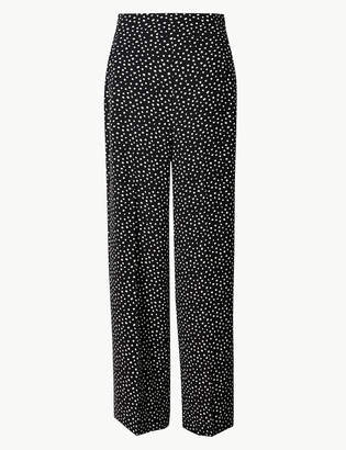 Marks and Spencer Polka Dot Wide 7/8th Leg Trousers