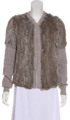 Haute Hippie Long Sleeve Fur Cardigan