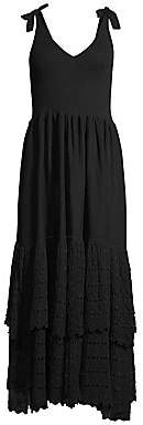 Rebecca Taylor Women's Rib-Knit & Tiered Lace Eyelet A-Line Dress