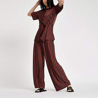 River Island Womens Brown stripe wide leg trousers