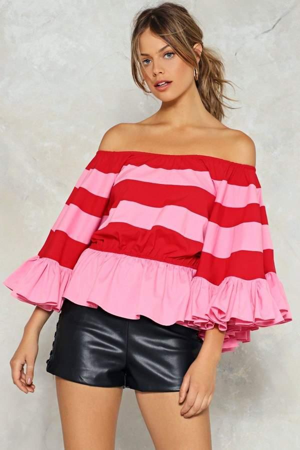 nastygal Be Stripe Back Off-the-Shoulder Top