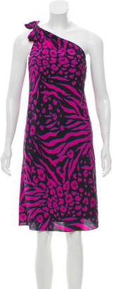DKNY Printed One-Shoulder Dress