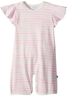 Toobydoo Pink Stripe Wing Sleeve Shortie Jumpsuit Girl's Jumpsuit & Rompers One Piece