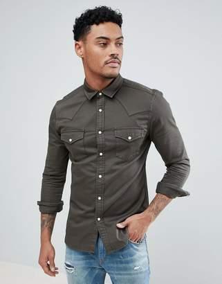 Asos Design Skinny Denim Western Shirt In Khaki