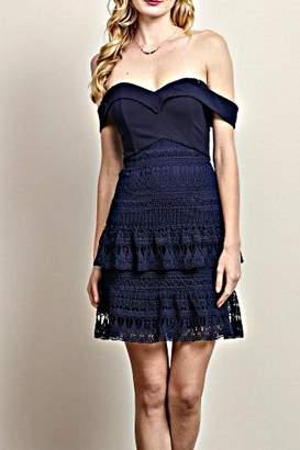 Soieblu Off-Shoulder Blue-Lace Dress