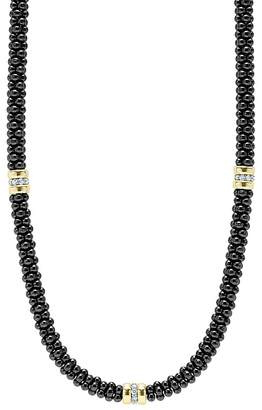 """Lagos Black Caviar Ceramic Necklace with Diamond and 18K Gold Stations, 16"""""""