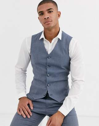 Design DESIGN wedding super skinny suit waistcoat in blue marl micro texture