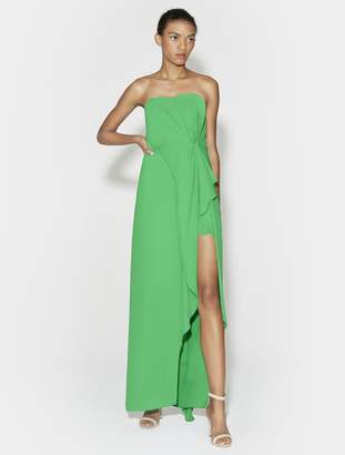 Halston Strapless Ruffle Front Gown