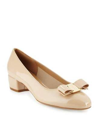 Salvatore Ferragamo Vara 1 Patent Low-Heel Pumps, New Bisque