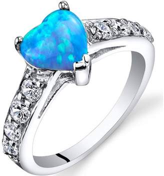 Oravo 1.00 Carat T.G.W. Created Blue Opal Engagement Ring in Rhodium-Plated Sterling Silver