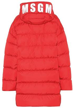 MSGM Logo hooded quilted coat
