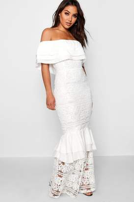boohoo Rosie Lace Off The Shoulder Maxi Dress