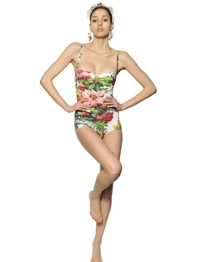 Dolce & Gabbana Flower Printed Lycra Swimsuit