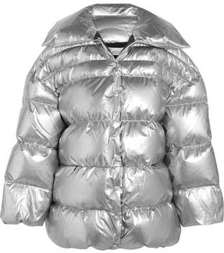 Oversized Cotton And Pu-blend Down Jacket - Silver