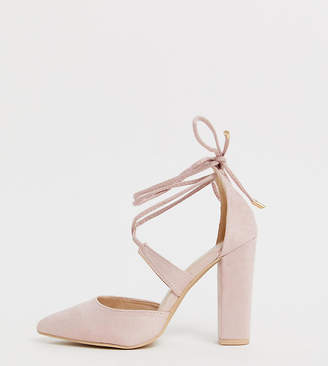 5413e219476 Glamorous Wide Fit blush block heeled tie up court shoes