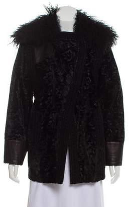 Andrew Gn Fur-Trimmed Jacquard Jacket