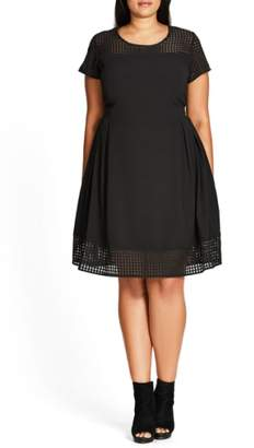 City Chic Sweet Texture Fit & Flare Dress