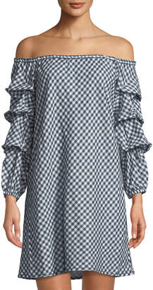 Max Studio Off-The-Shoulder Balloon-Sleeve Gingham Dress