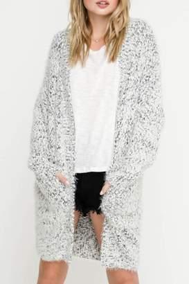 Lush Clothing Two-Tone Fuzzy-Grey Cardigan