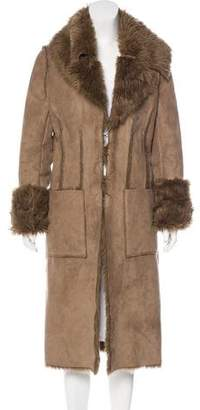 Ikks Faux Shearling Long Coat