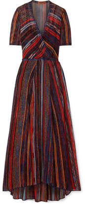 Missoni Striped Metallic Crochet-knit Maxi Dress - Red
